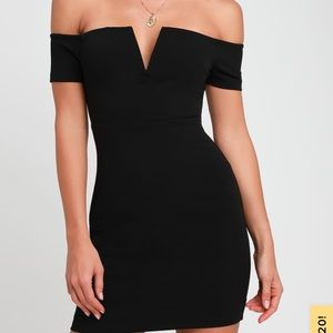 Black off the shoulder body con dress